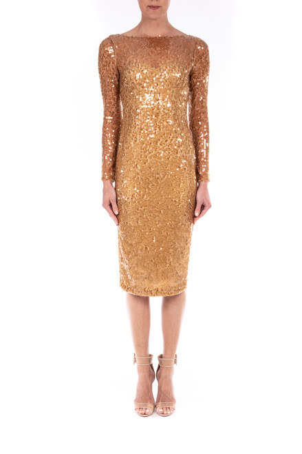 Gold Long Sleeve Sequin Cocktail Dress Front