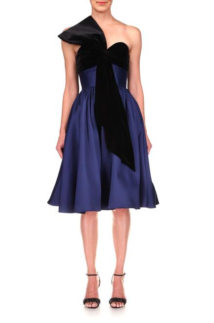 Midnight Velvet Bow Strapless Cocktail Dress Front