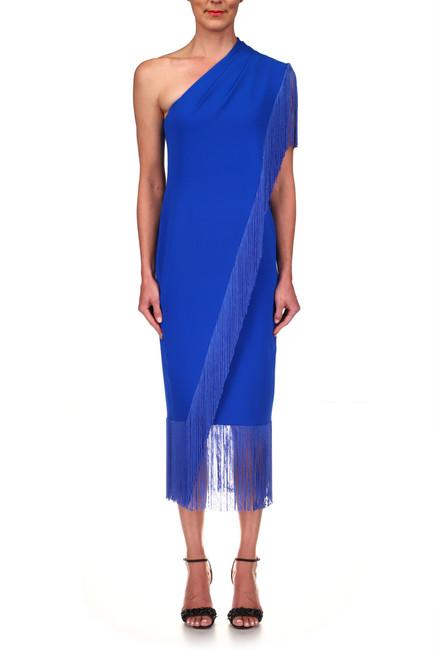 Mediterranean Blue Crepe Single-Shoulder Fringed Cocktail Dress Front
