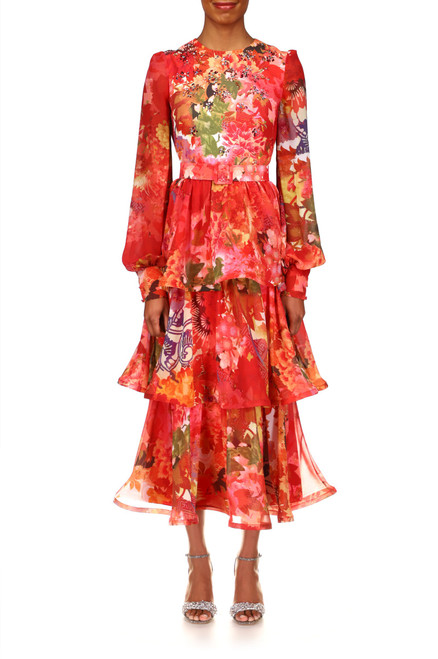 Red Multi Floral Printed Georgette Cocktail Dress Front