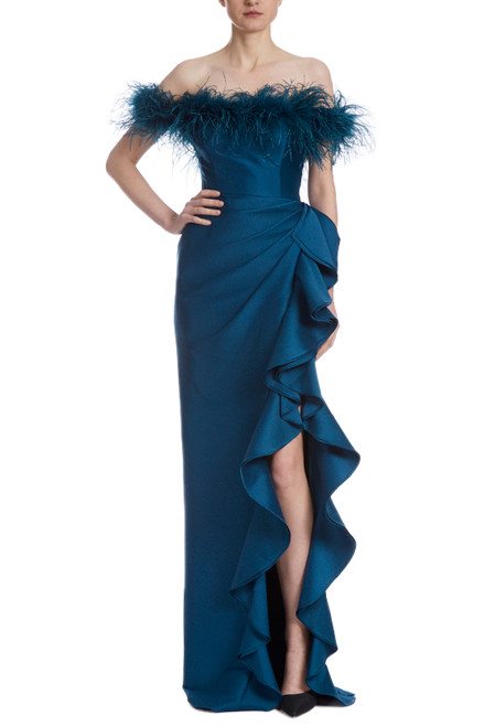 Teal Ostrich Feather Adorned Gown Front
