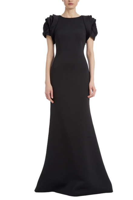 Black Rosette Sleeve Gown Front