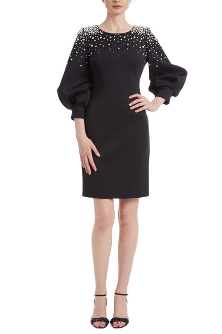 Black Ivory Balloon Sleeve Pearl Adorned Cocktail Dress Front