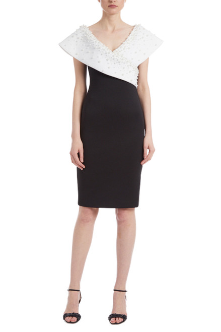 Black Ivory Monochrome Pearl Adorned Cocktail Dress Front