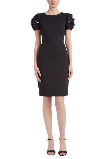 Black Rosette Sleeve Cocktail Dress Front