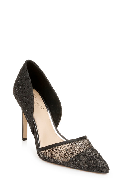 Black Julissa Pointed Lace Stiletto Front Side