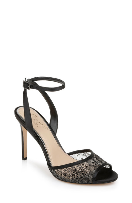 Black Justina Satin and Lace Stiletto Front Side
