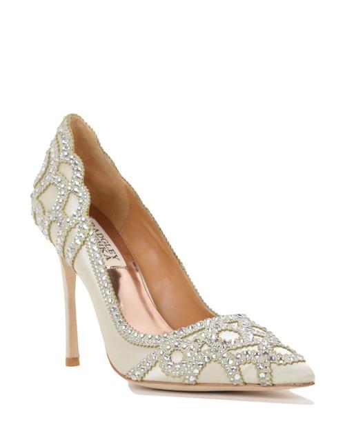 Ivory Rouge Pointed Toe Embellished Evening Shoe Front