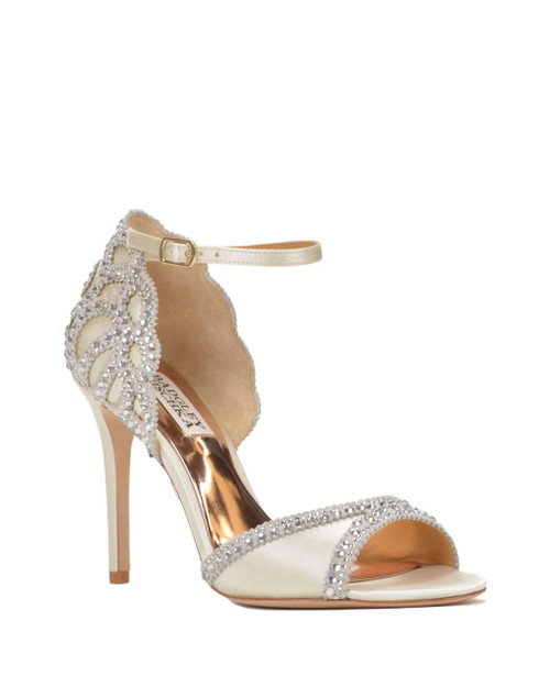 Ivory Roxy Ankle Strap Evening Shoe Front