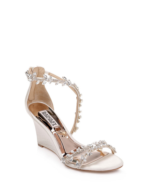 Ivory Feather Crystal Embellished Evening Wedge Front