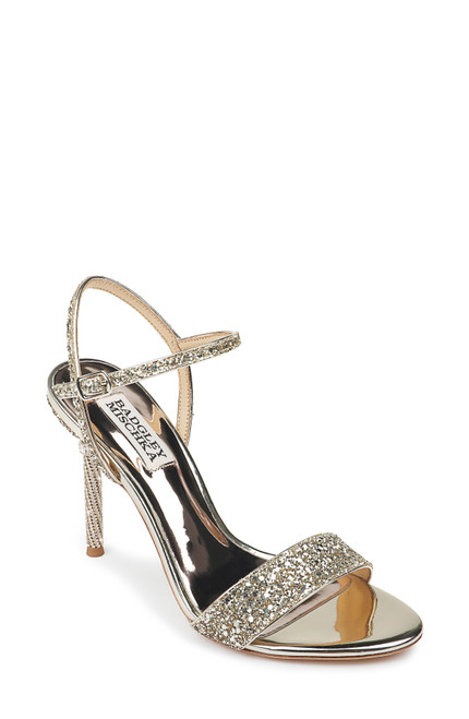 Platino Olympia Glittered Evening Sandal Front