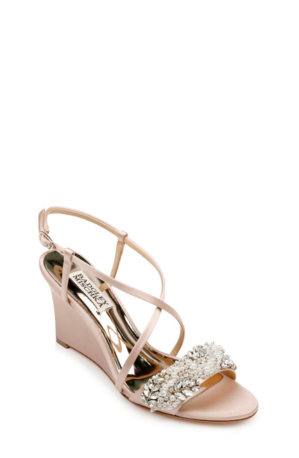 Soft Blush Clarisa Strappy Wedge Evening Shoe Front