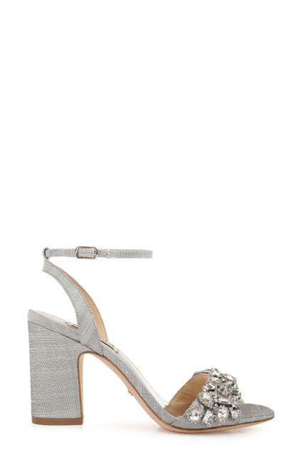 Silver Jill Crystal Embellished Block Heel Side