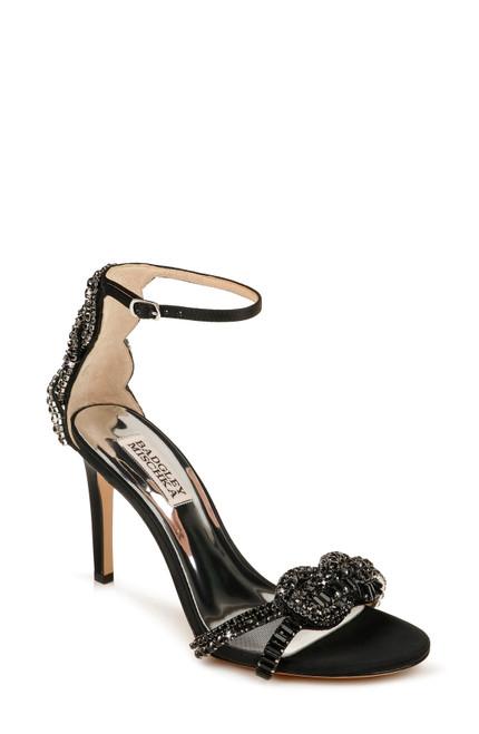 Black Zadie Ankle Strap Stiletto Front
