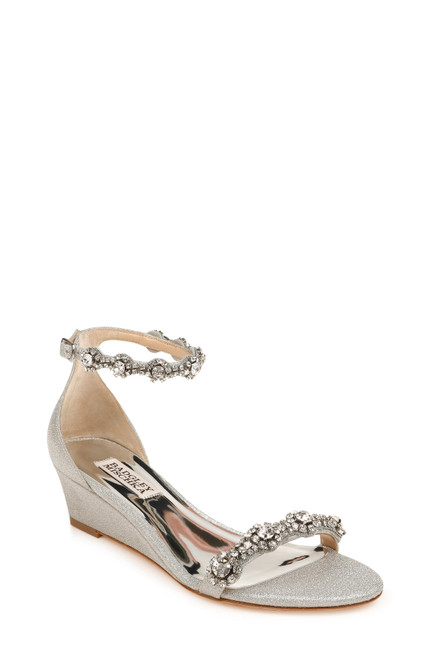 Silver Zion Ankle Strap Wedge Front Angle