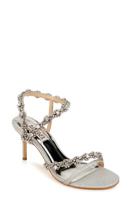 Silver Glitter Zoe Crystal Embellished Heel Front