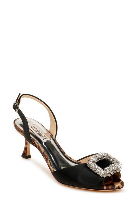 Black Gaela Embellished Kitten Heel Front