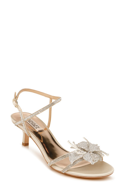 Ivory Gianna Strappy Embellished Kitten Heel Front