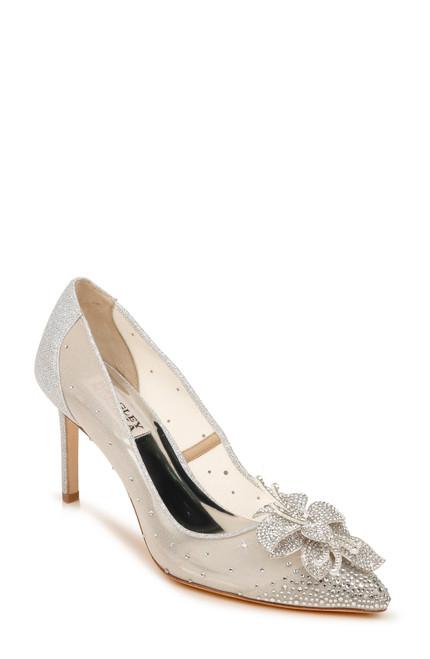 Silver Gilda Crystal Pointed Toe Pump Front