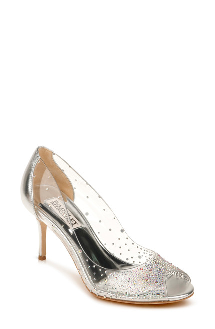 Silver Ginata Crystal Embellished Peep Toe Front