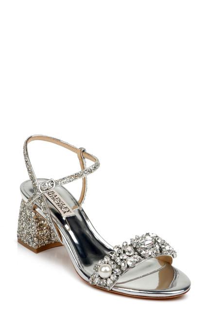 Silver Glitter Danielle Chunky Glitter Block Heel Front