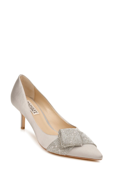Silver Grey Deena Pointed Toe Evening Pump Front