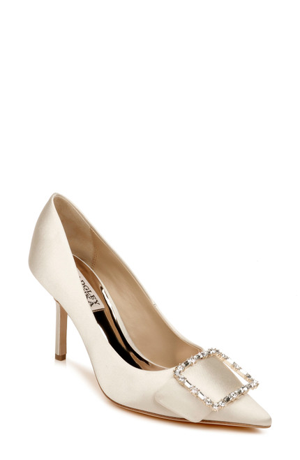 Ivory Devi Crystal Buckle Pump Front