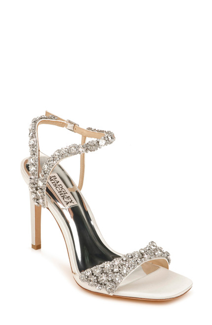Soft White Galia Crystal Ankle Strap Evening Shoe Front