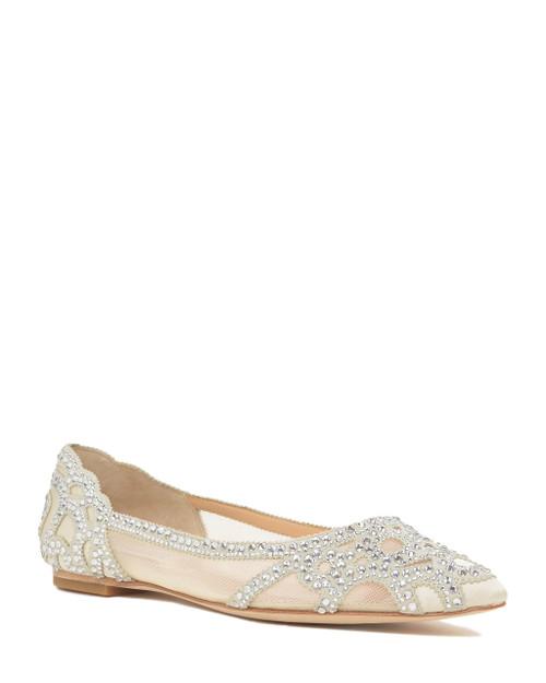 Ivory Gigi Pointed Toe Flat Evening Shoe Front