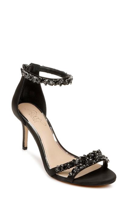 Black Caroline Embellished Strap Evening Shoe Front Side