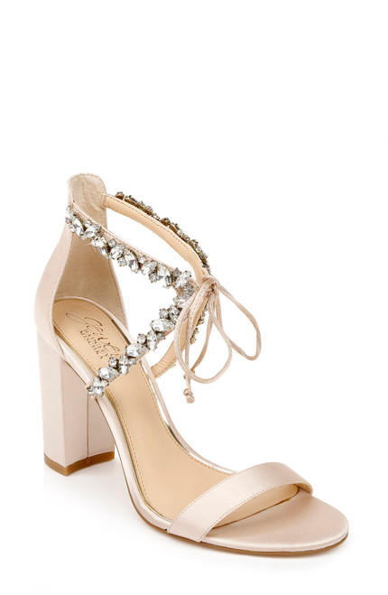 Champagne Thamar Crystal Strappy Block Heel Frontt