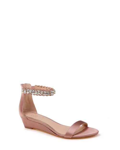 Dark Blush Ginger Embellished Strap Evening Shoe Front