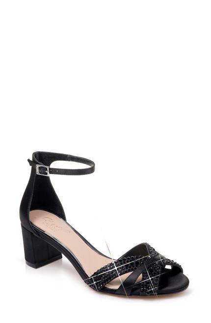 Black Sequoia Ankle Strap Evening Shoe Front
