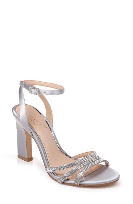 Silver Sparkle Open Toe Evening Shoe Front