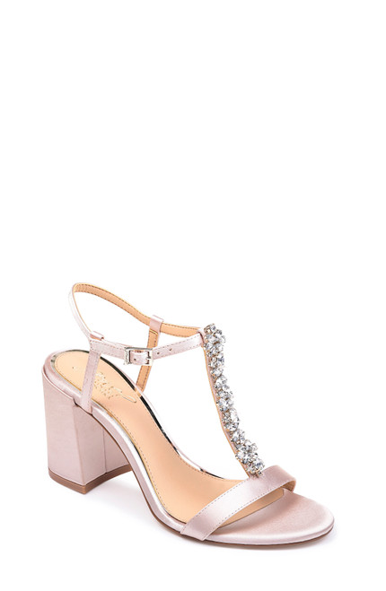 Champagne Raina T-Strap Block Heel Evening Shoe Front