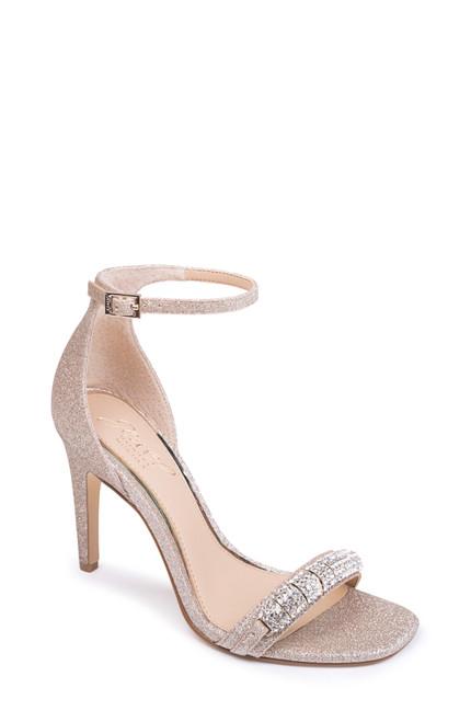 Lt. Gold Glitter Ranya Ankle Strap Evening Shoe Front