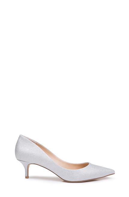 Silver Royalty Pointed Toe Kitten Heel Side