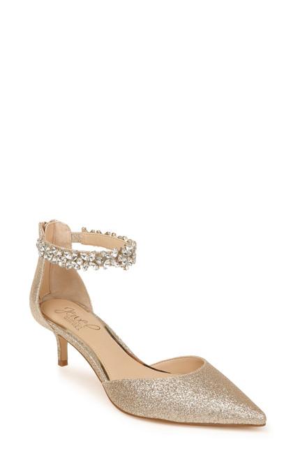 Light Gold Robles Crystal Embellished Kitten Heel Front