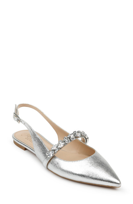Silver Bambi Pointed Toe Sling Back