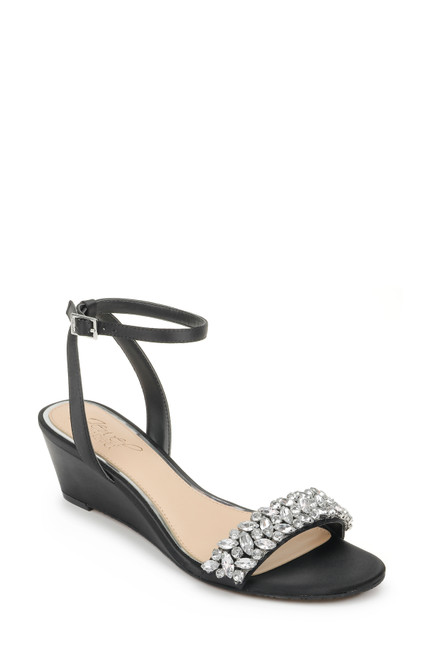 Black Bellevue Ankle Strap Wedge Front