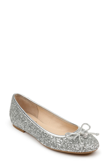 Silver Bryanna Glitter Ballet Flat Front