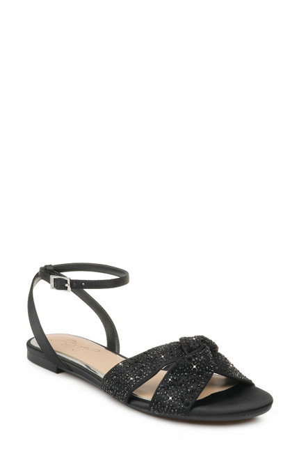 Black Nicole Strappy Flat Sandal Front