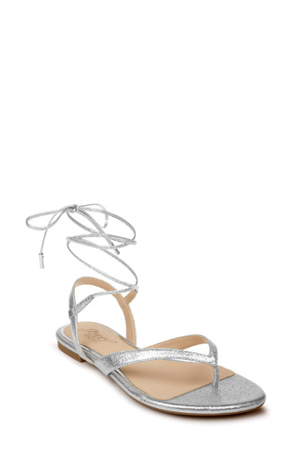 Silver Nolana Strappy Ankle Tie Sandal Front
