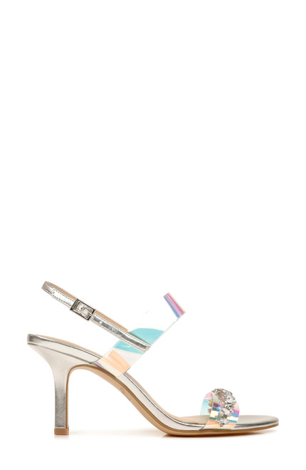 Iridescent-Silver Fairwell Crystal Embellished Heel Side