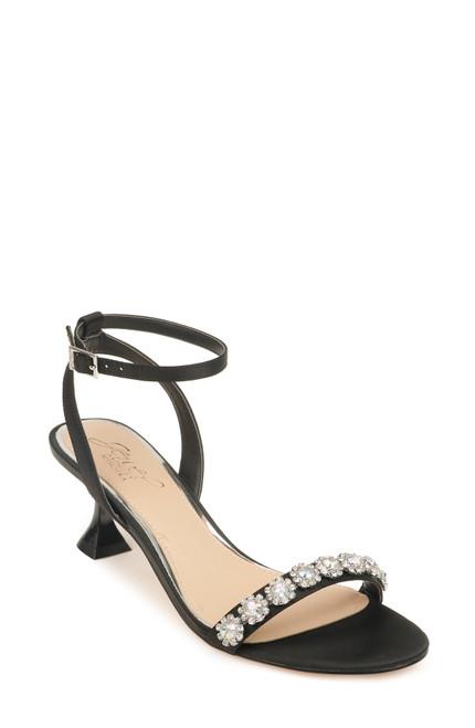 Black Fantasia Ankle Strap Evening Shoe Front