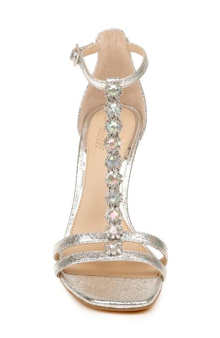 Silver Metallic Farida Crystal T-Strap Heel Alt Front