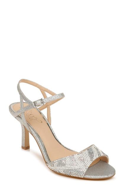 Silver Glitter Fawna Glitter Open Toe Evening Shoe Front