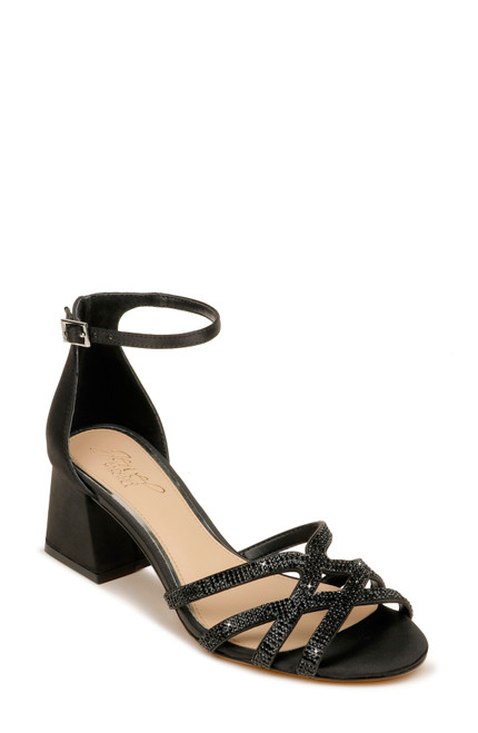 Black Fidelia Strappy Peep Toe Block Heel Front