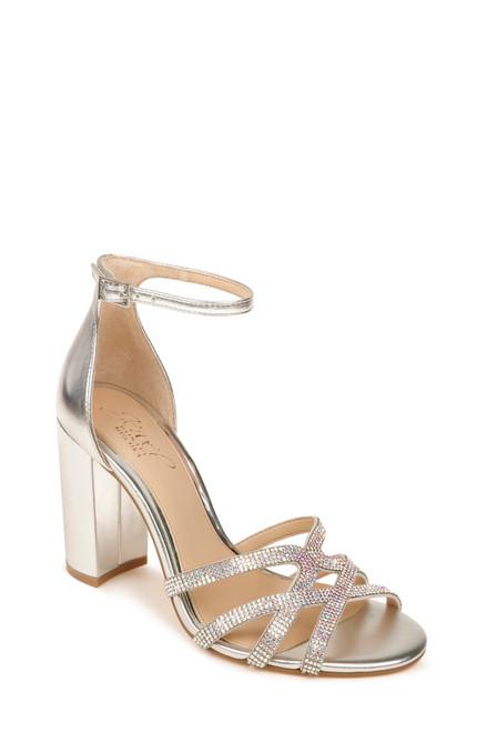 Silver Metallic Fidelity Ankle Strap Block Heel Front
