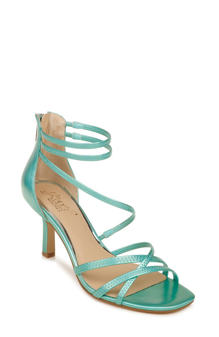 Mint Iridescent Flor Strappy Evening Heel Front